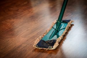 Sweeping hardwood floors